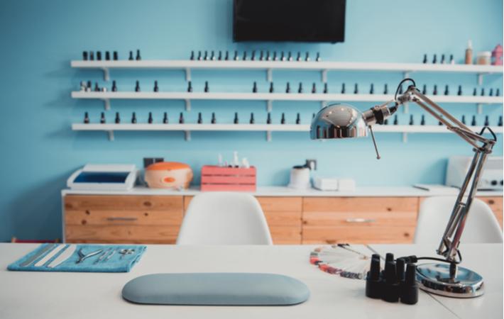 a work station at a nail salon