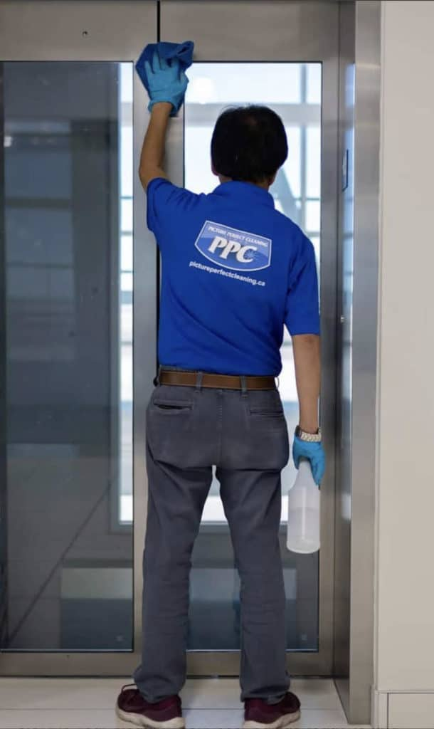 commercial cleaning company Cleaning an Elevator