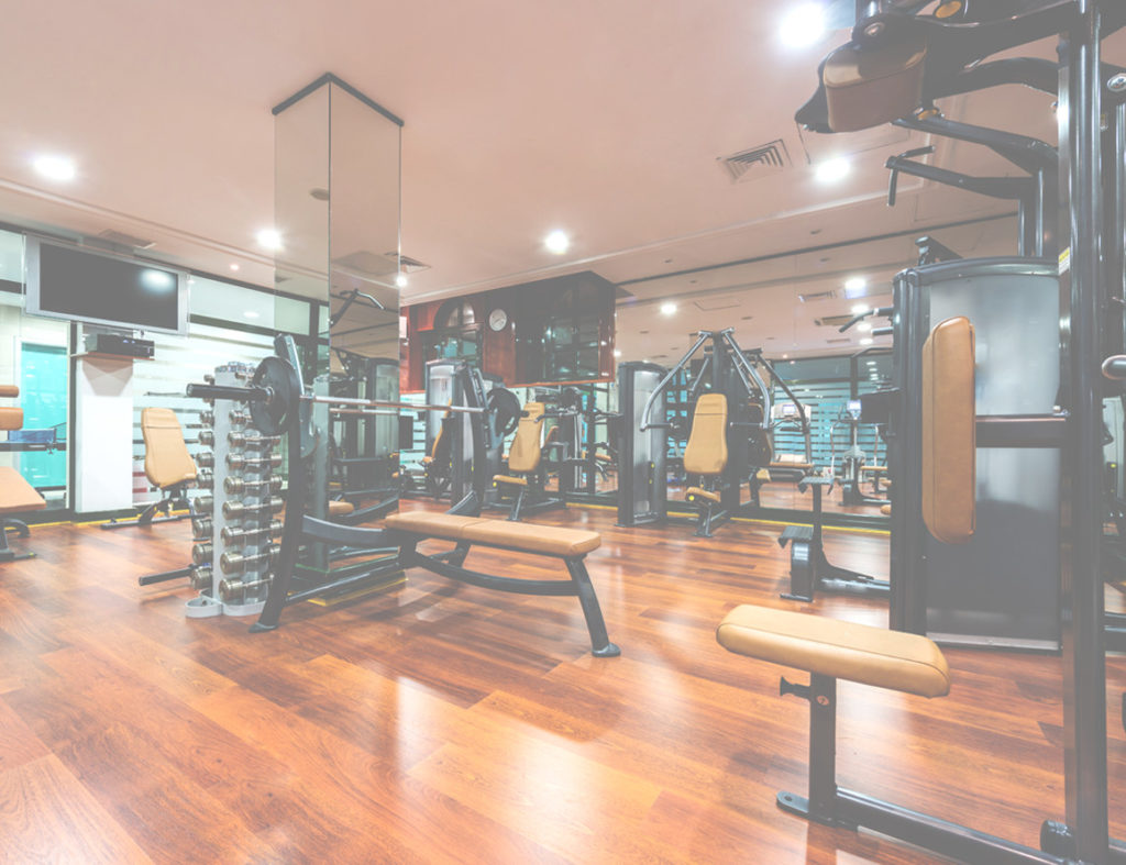 Gym room with laminate flooring