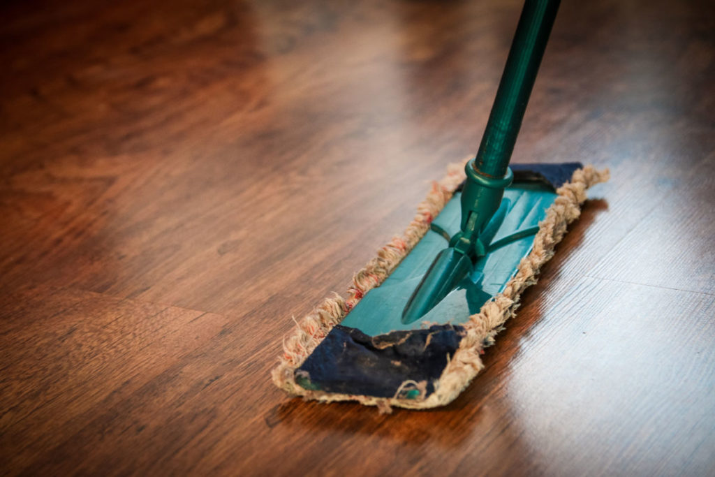 Mop sweeping laminate flooring